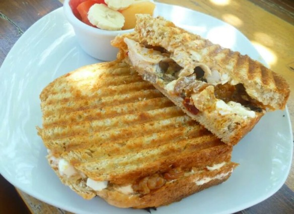 The Marina Panini - Grilled chicken, onions, feta, sundried tomatoes and chipotle mayonnaise