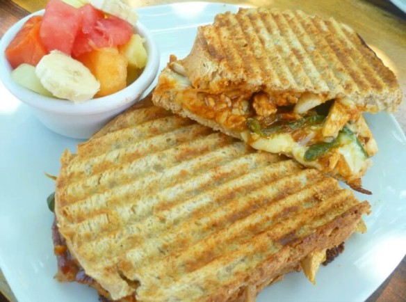 The Pool Girl Panini - BBQ chicken, peppers, onions and mozzarella